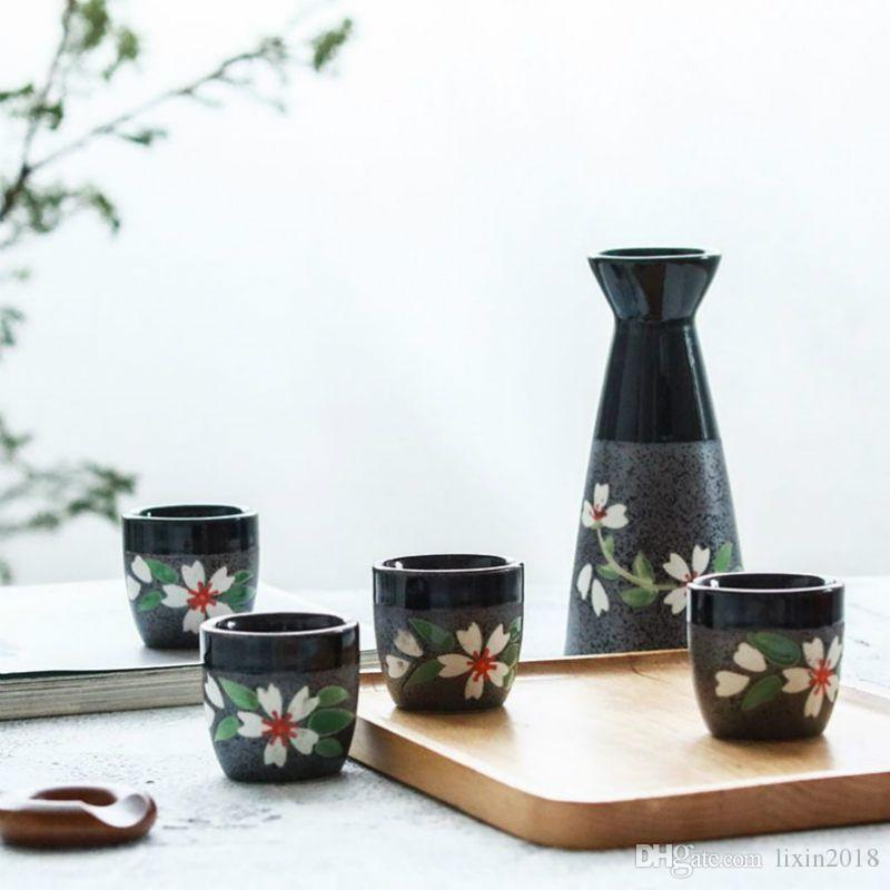 5 PCS 도자기 힙 플라스크 와인 잔 200ml의 일본식 벚꽃 술 냄비 병 목이 좁은 병 주류 컵 세트