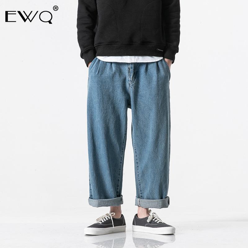 EWQ Мужчина Твердого Джинсовые брюки 2019 весна Новой Нейтральной Hip Hop Джинсовые брюки для мужских Винтажной пары Комбинезонов джинсовых брюк HD731