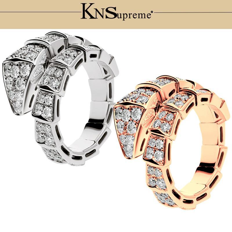KN BGL Serpentine s925 кольцо подарок 1: 1 Оригинал 100% Стерлингового Серебра 925 Женщины розовое золото Ювелирные Изделия Высокого Качества Подарок Есть логотип