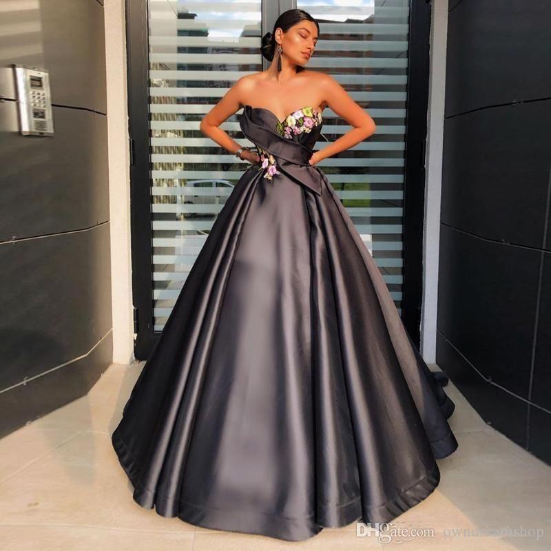 Preto elegante do querido apliques florais 3D A linha de vestidos de noite longos de cetim vestidos de noite formal vestido Robe Vestidos De Festa