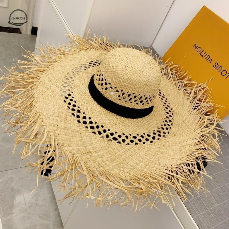 Moda Senhora Chapéus Ráfia Praia Hat Mulheres Sombra com abas muito grandes Sun Cap Lady oco respirável verão esfria Straw Cap Bucket Hat