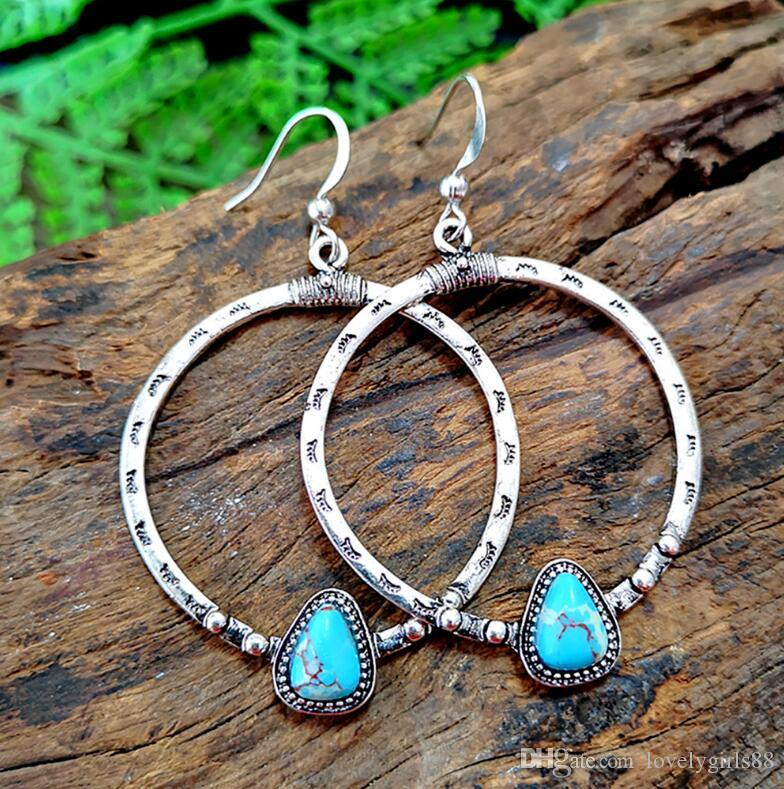 Vintage Silver Metal Alloy Large Circle Turquoise Pendant Earrings Dangle Carved Grain Triangle Charming Ear Hooked Eardrop Women Jewelry