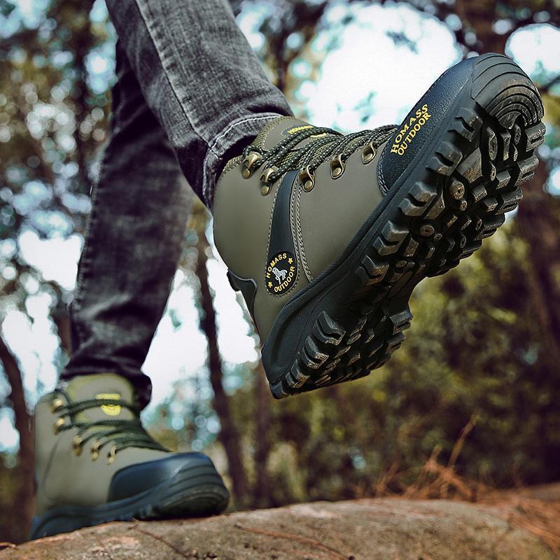 Acheter Homme Chaussures De Randonnée Automne Hiver Hommes Escalade Chaussures Noir Armée Sentier Vert En Caoutchouc Bas Bottes De Trekking Pour Homme