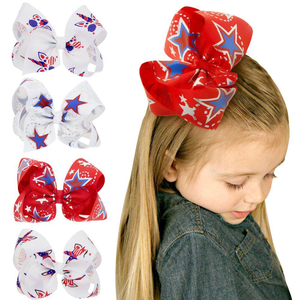 4 cores da bandeira americana crianças bebê Barrettes Star Girl stripe cabelo clipe grande Curva-nó arcos de cabelo com clip filhos Cabelo Acessórios C6442