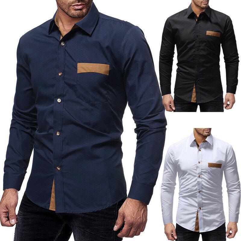 Mens Uzun Kollu Slim Fit Cep Üst Resmi Elbise Gömlek Tasarımcı Casual Gömlek Düzenli Fit Tops