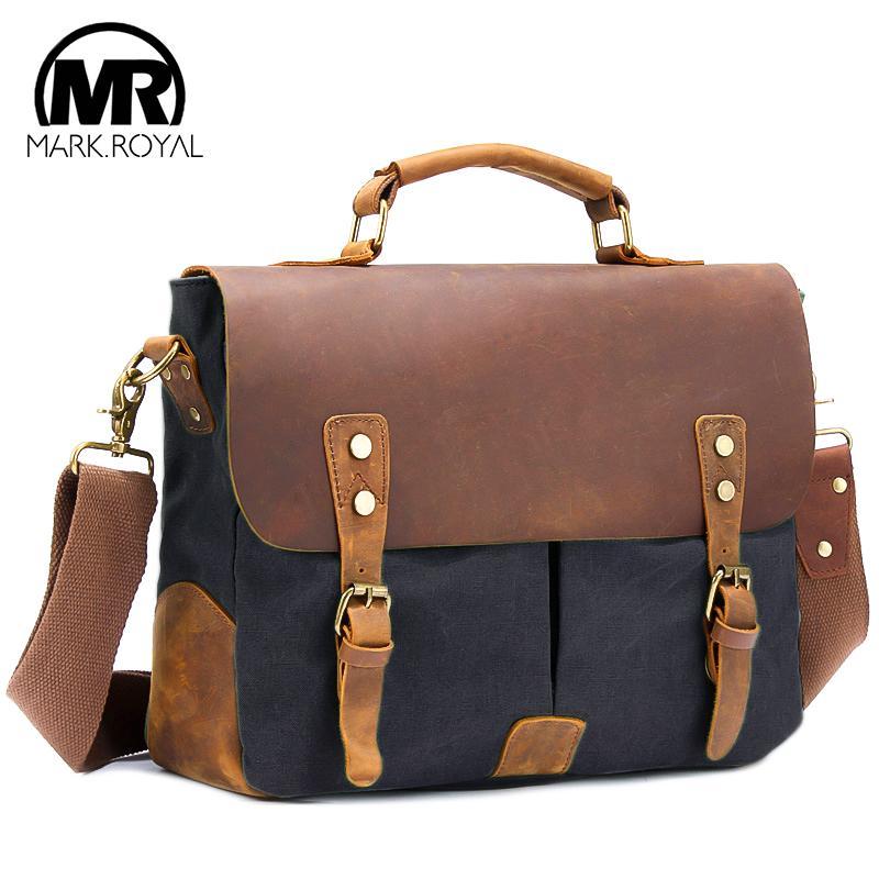 MARKROYAL Nuove Borse da viaggio in pelle vintage uomini borse a spalla di grande capienza Borse Business Travel sacchetto di scuola Laptop Bag Tote