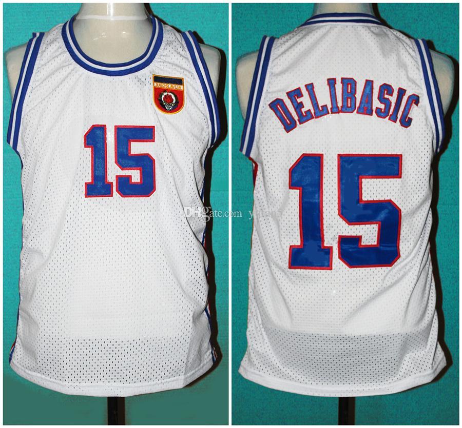Takım Yugoslavya Avrupa Jugoslavya # 15 Mirza Delibasic Retro Klasik Basketbol Forması Erkek Dikişli Özel Numarası ve adı Formalar