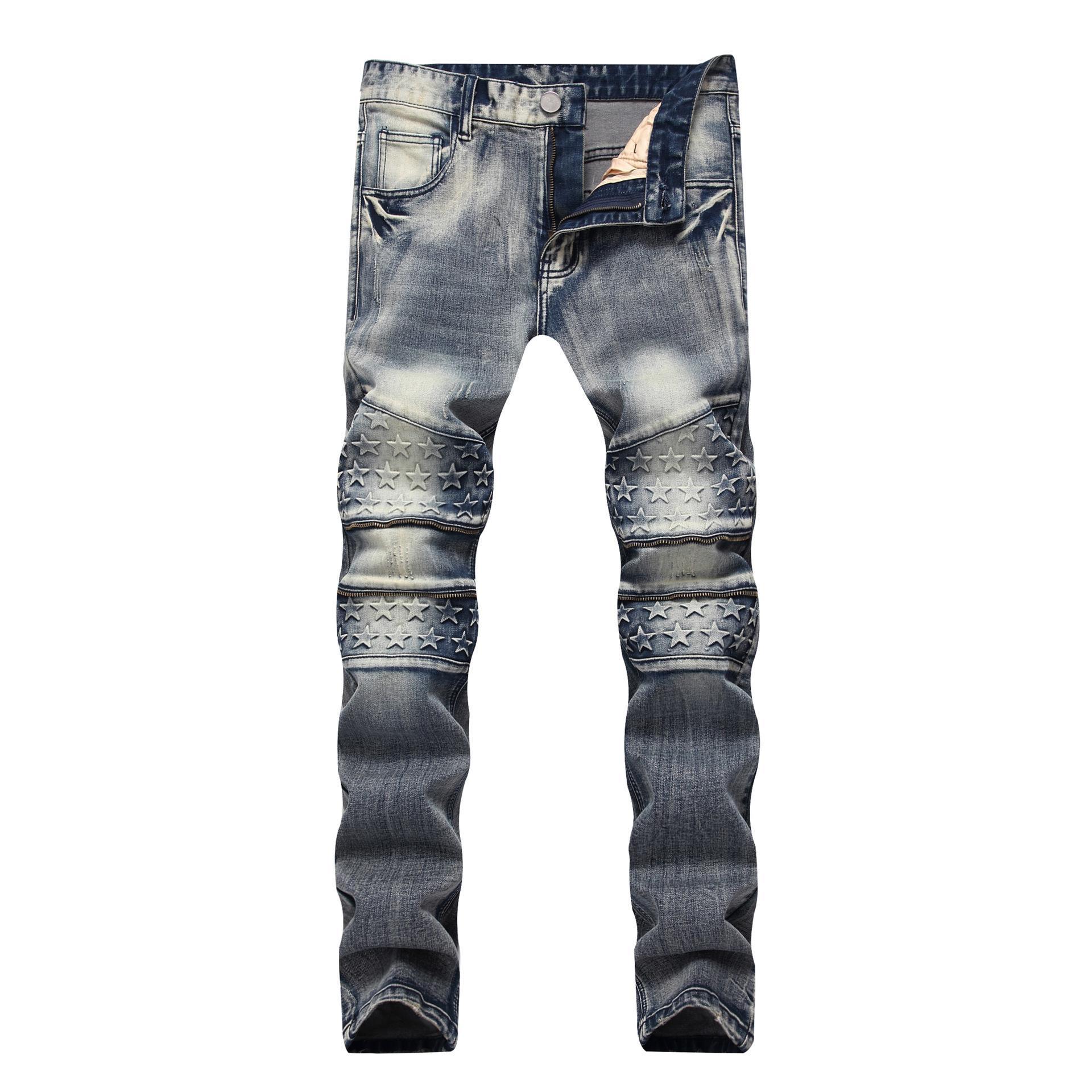 Мужские дизайнерские джинсы молния украшение эластичными прямые тонкие большого размера джинсовые брюки
