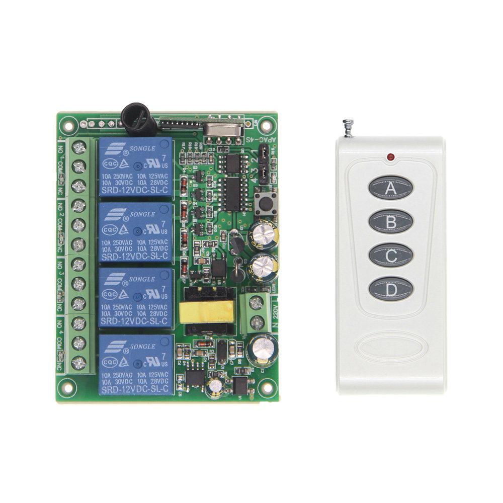 1000m alta potencia 10A Relay AC 220V 4 CH 4 canales inalámbricos RF remoto interruptor de control de transmisor receptor, 315/433 MHz