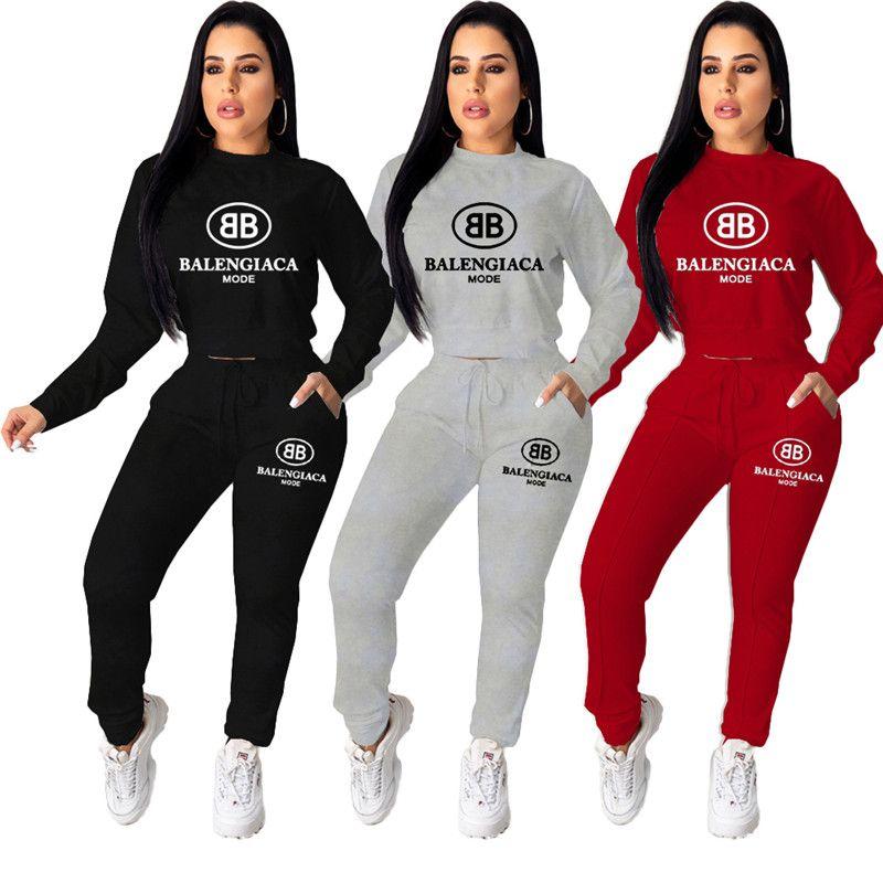 Kadınlar kış Eşofman marka hoodies gündelik iki parçalı set harfli baskı kazak tozluk spor kıyafetler moda jogging yapan takım 2343 uyacak düşmek