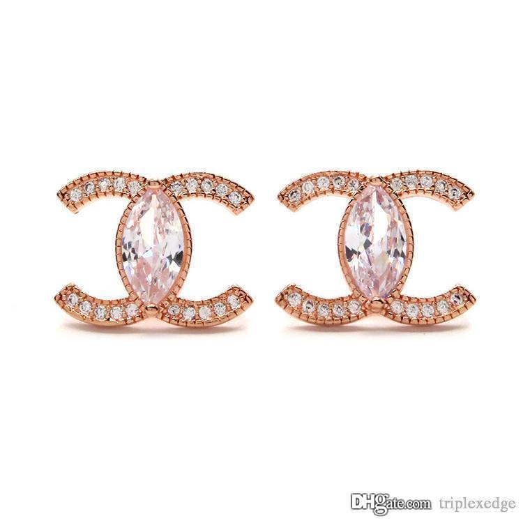 Moda Kadın 925 Gümüş Pin saplama Küpe Yüksek Kalite 18K Rose Gold Kristal Küpe Mizaç Kore Takı
