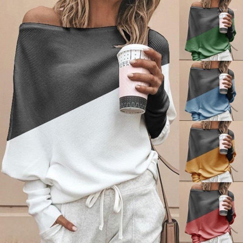 Stil Tshirts Yaz Gevşek Artı boyutu Kontrast Renk Kadın Slash Yaka Uzun Kollu Elbise Kadın Kasetli OL Tops