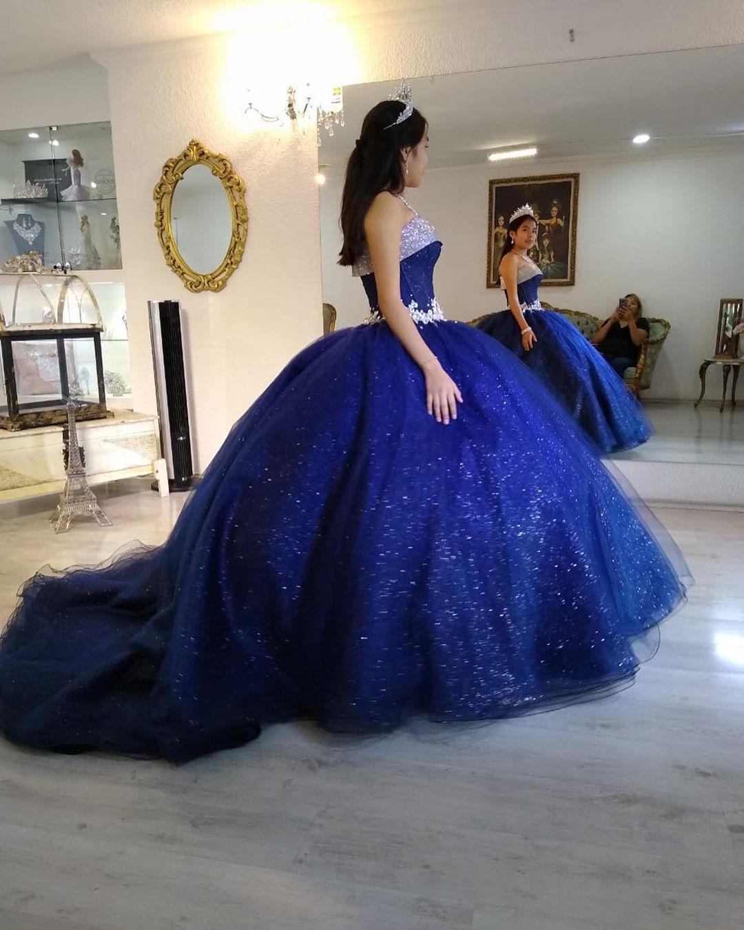 Brillo de las lentejuelas azul real del vestido de bola del vestido de encaje de quinceañera Apliques hinchadas niñas de 15 años vestidos de cumpleaños Vestidos de quinceañera