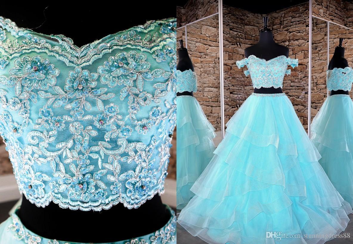 Alta qualidade Lace Designer Light Aqua vestido de baile Prom Quinceanera vestido Ruffles fora do ombro de cristal frisado partido vestido de noite barato