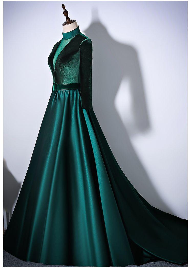 100% настоящий зеленый бархат тянущийся с длинным рукавом пояса талии длинное платье платье косплей суд викторианской платье / может таможенного размера