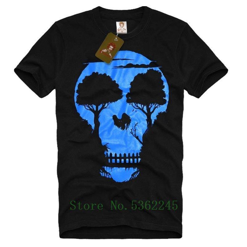Графика черепов Tree Джунгли Night Мужская футболка Мужская Бэнкси Fun Tee новизны способа Pride T Shirt Мужчины Прохладный Новый Casual