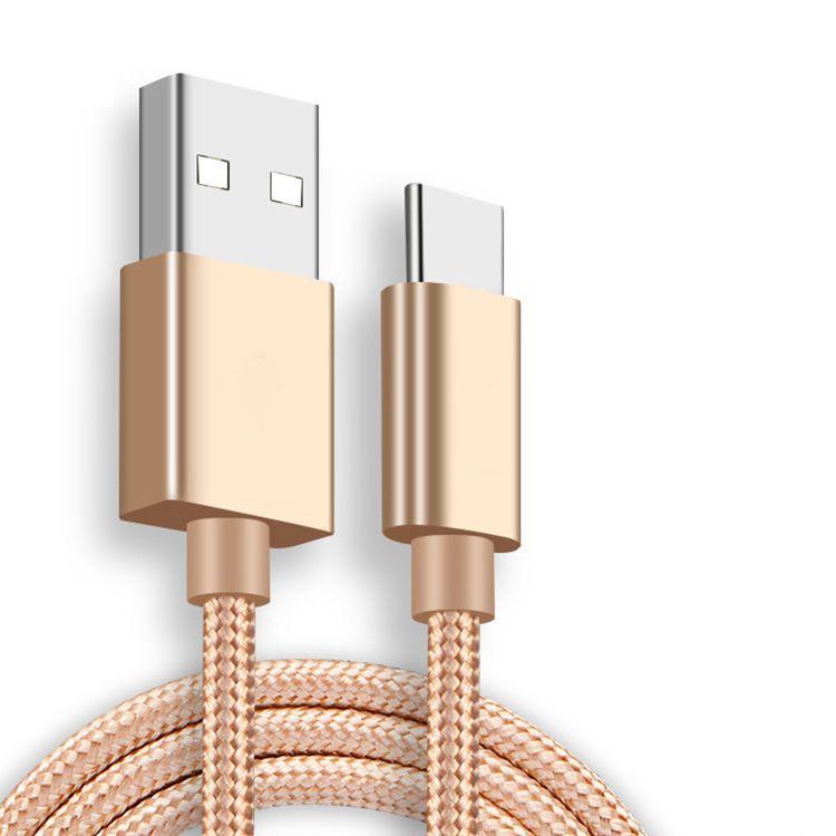 Telefon Kabloları Yüksek Hızlı USB Kablosu Tipi C Şarj Adaptörü Veri Sync Metal 0.48mm Kalınlığı Güçlü Örgülü Şarj