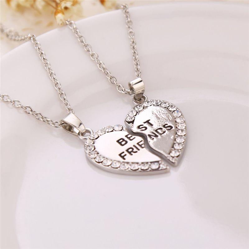Unisex 2 Pcs BFF Necklace Women Crystal Heart Pendant Best Friend Letter Necklace Fashion Couple Necklace Men Friendship Jewelry