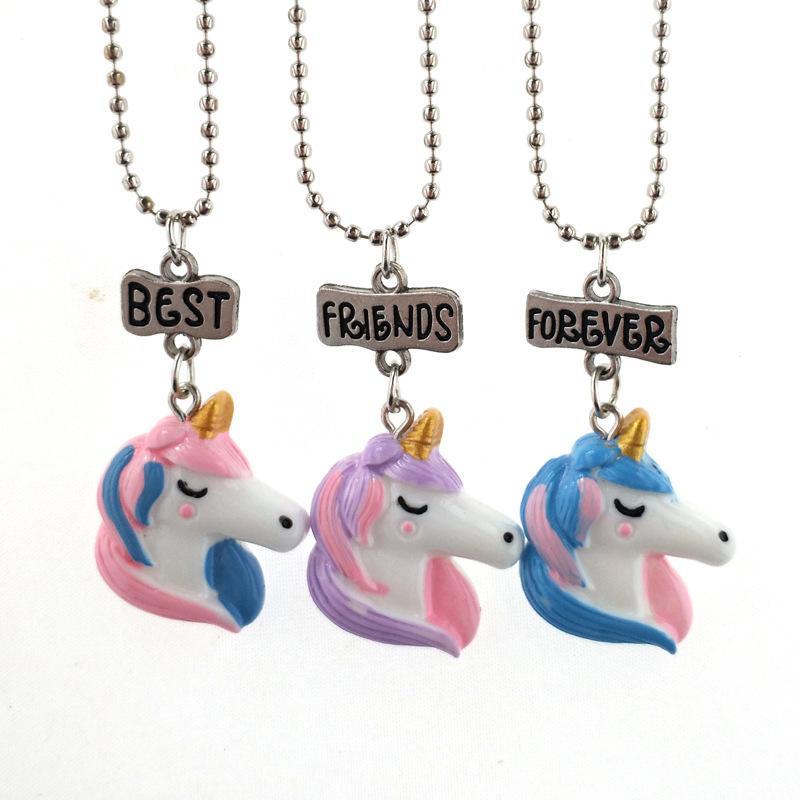 3 peças por grupo bonito Resina Unicórnio Pingente colares meninas melhor amigo para sempre colares