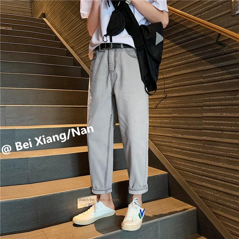 Autumn ins light color washed ankle-length pants men's Korean loose fashion brand straight pants Hong Kong fashion thin jeans