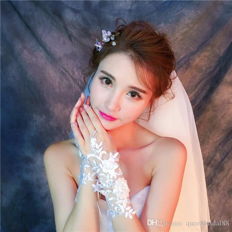 New Style Bridal Wedding Gloves Wedding Lace Embroidery Yarn Long Wedding Spring Summer Cover Arm Below Elbow Length Bridal Gloves