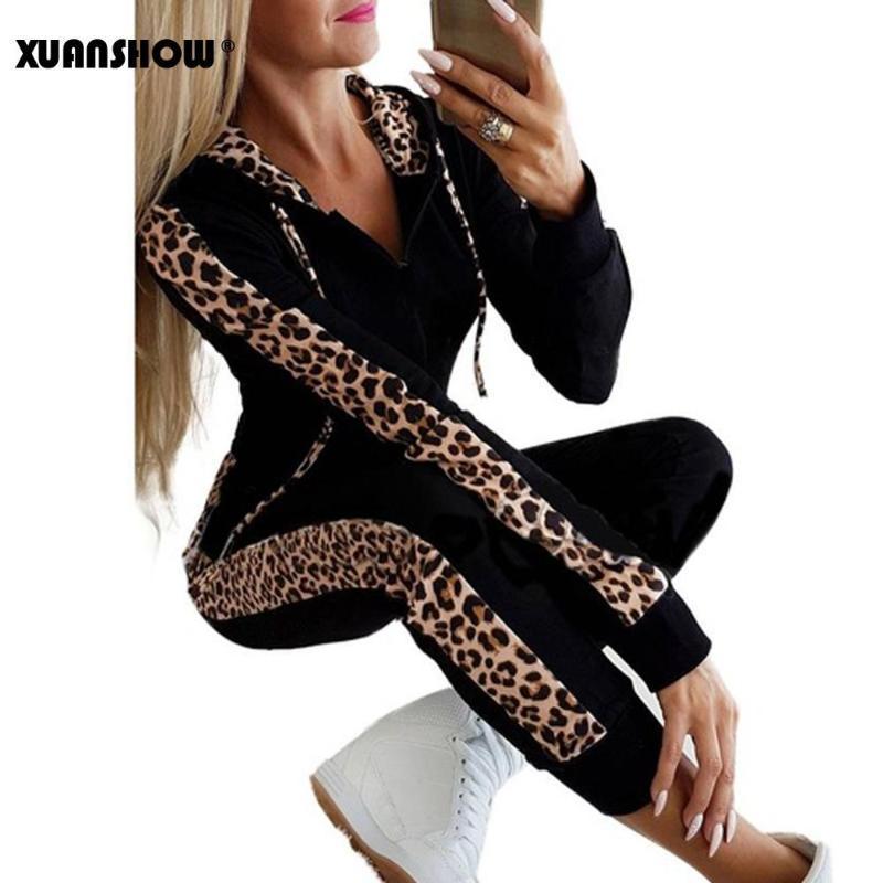 Hood İki adet Seti Kapüşonlular Uzun Pantolon Suit ile Sonbahar Kış Moda Eşofman Kadınlar Splice Fleece Leopard Baskı Coat