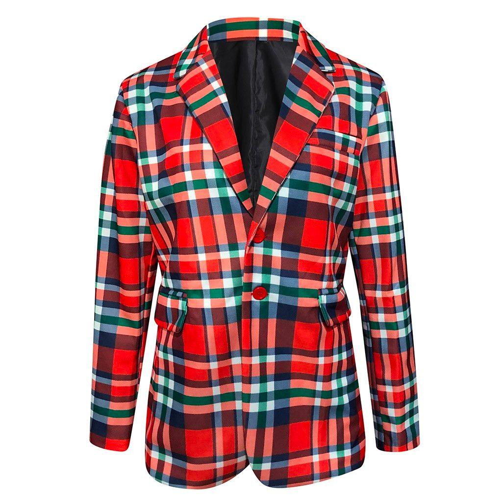 Fanny Mens Coat Christmas Printing Santa Jacket Outwear Turn-Down Collar Coat Printing Santa Jacket Outwear Turn-Down Collar Coa