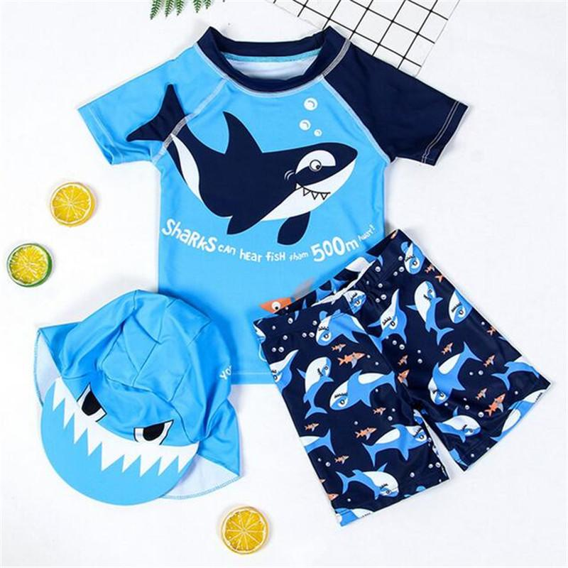 0-10 Years Baby Boys Swimwear Shark Cartoon 2 Piece Infant Boy's Swimsuit with Cap Costume Toddler Kids Children Bathing Suits