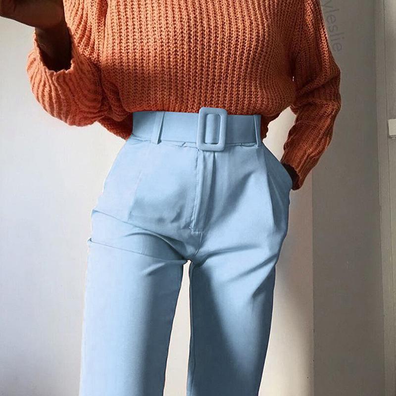 2019 Mode taille haute Slim Fit Sweat Crayon Pantalons Femmes Ceinture Streetwear Pantalons courts Workout Femme Noir Bleu Neuvième Pantalon LY191213