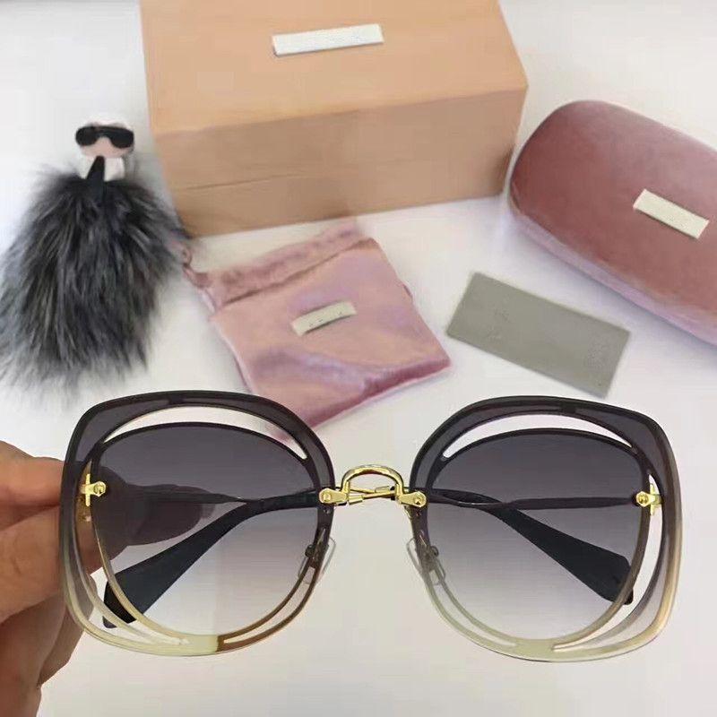2020-Mujeres Negro Gafas de sol de oro con cuero del diseñador de la marca gafas de sol de SUPER RARO nuevo con la caja