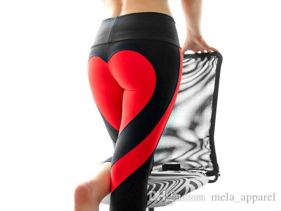 Hohe Taille Laufen Sport Frauen lieben Nähen neun Hosen Sport Fitness Strumpfhosen Yoga Hosen Fitness Hüften Stretch schlanke Leggings Tanz Fitness