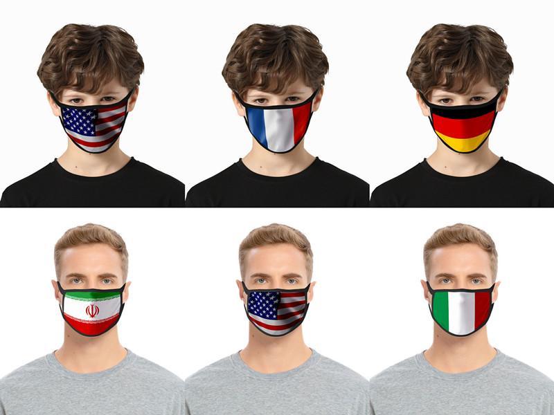 40 Styles Amérique 3D USA Flag Imprimer Masques Masque Visage Coton Lavable respirante resuable Femme Homme Enfant Masque Mode