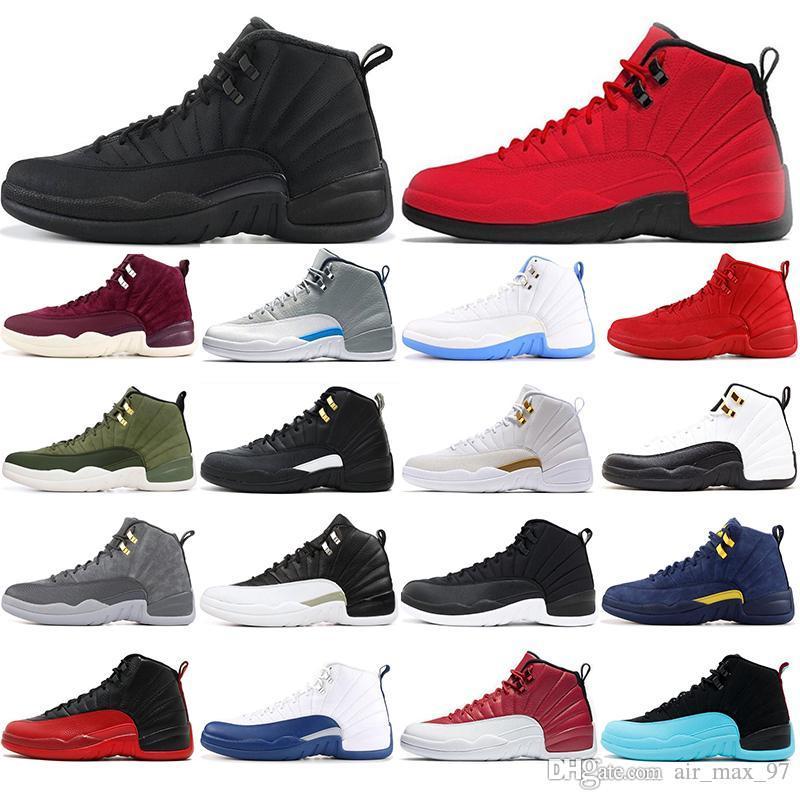 Nike AIR Jordan 12 Avec des chaussettes NOUVELLES chaussures de basket-ball 12s pour hommes pour la saison d'hiver WNTR Gym rouge jeu de la grippe GAMMA BLEU Taxi les maîtres