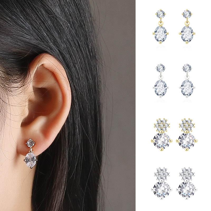 2020 Fashion Design Ellipse Round Zircon Pendant Earrings For Women Girls High Grade Rhinestone Stud Ear Jewelry Party Gifts From Barreline 23 48 Dhgate Com