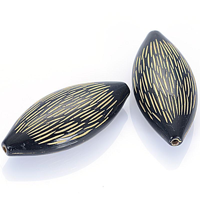 Miasol 20pcs / Lot Marquise Forme Placage design acrylique Antique Stripe ovale Breloques perles pour les femmes Diy Faire des bijoux