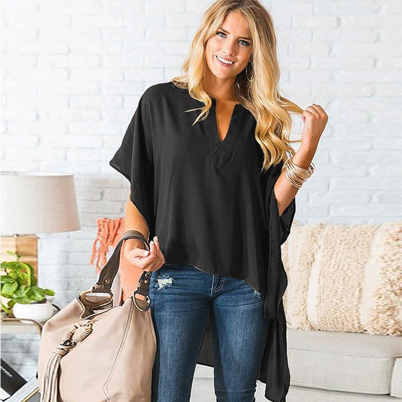 Moda-Yeni kadın Şeffaf Şifon T-shirt Kısa Kollu Hi-Düşük Hem Kulübü Parti T Shirt Üst Seksi Yaz Şifon Bluz Tees Streetwear S-XL