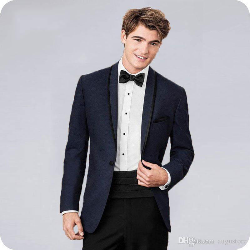 Nach Maß Dunkelblau Bräutigam Smoking Klassische Männer Anzüge für Hochzeit 2 Stück (Mantel + Hosen) Slim Fit Kostüm Homme Terno Masculino Trajes de hombre