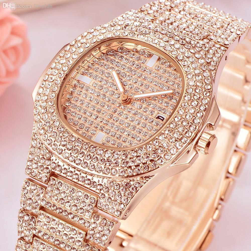 Men Women Diamond Watches Calendar Wristwatches Vintage Designer Watch Mens Womens Male Female Gold Silver Wristwatch New