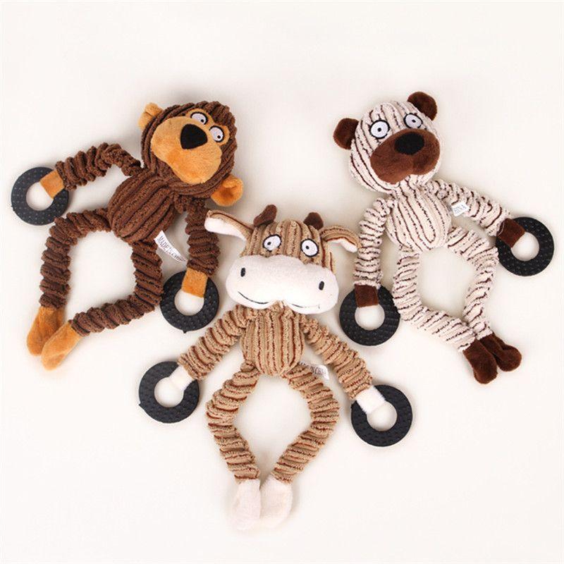 Chew Toys Cachorros de Pelúcia filhote de cachorro animal de estimação mastigar Plush Som Vaca Sheep Macaco mudo Brinquedos Pet