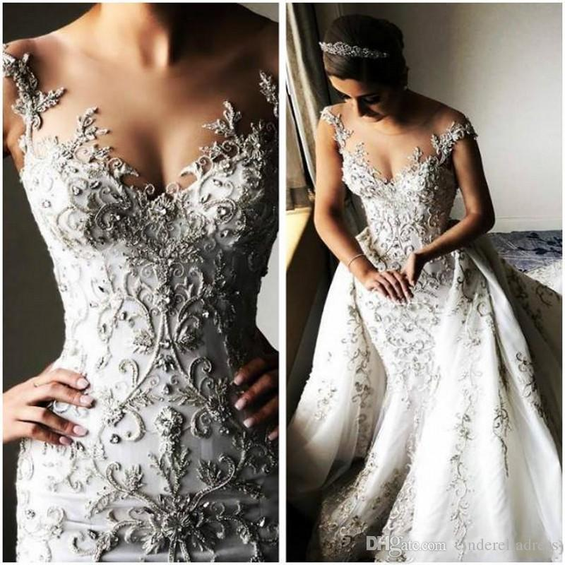 2020 Gorgeous Beaded Lace Arabic Wedding Dresses With Detachable Train Sheer Neck Mermaid Bridal Dresses Tulle Vintage Sexy Wedding Gowns