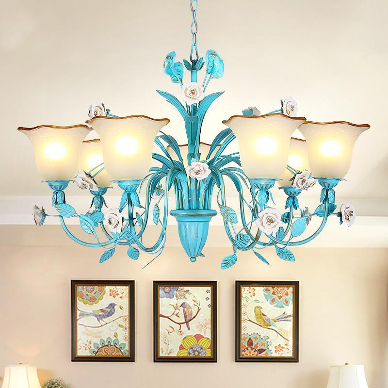 방 호텔 여자 침실에 매달려 사는 지중해 블루 꽃 LED 펜던트 샹들리에 로즈 조명기구는 램프 D75 조명