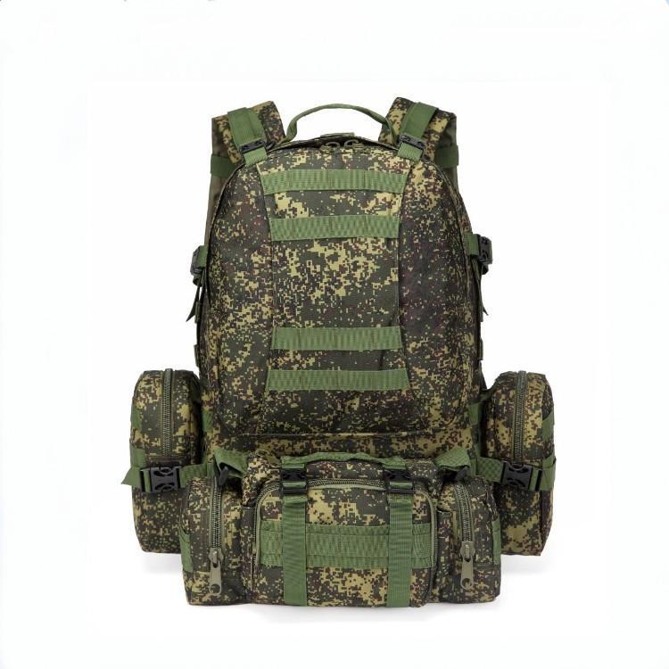 Camouflage Combinazione alpinismo speciale Zaino doppio Borsa a tracolla da uomo di grande capienza 55 litri