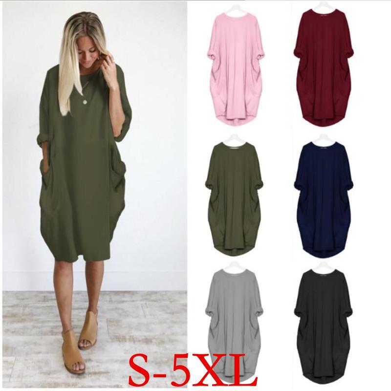 كبير الحجم الأمومة ثوب جديد خريف وشتاء جولة الرقبة وقت الفراغ على نطاق واسع الجيب كم طويل الحمل الملابس فستان Sukienka CX200530