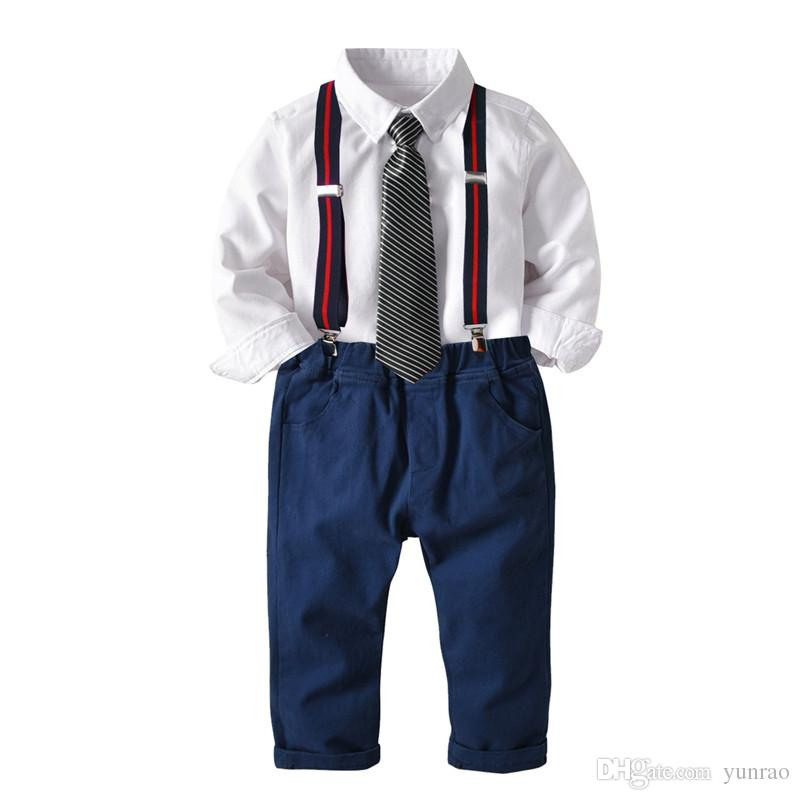baby boy clothes kids designer clothes boys clothing 4PCS Gentleman Suit for boy Shirt with Tie Trousers with Suspenders 2-8T