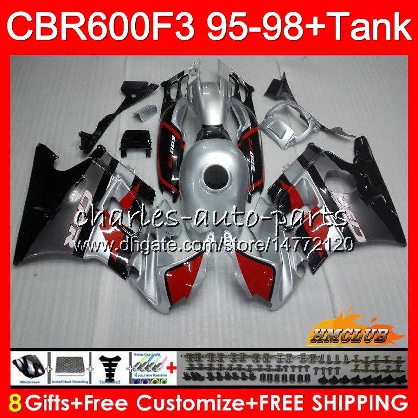 Cuerpo + tanque para HONDA CBR 600cc 600F3 plateado negro CBR600 F3 95 96 97 98 41HC.27 CBR 600 F3 FS CBR600FS CBR600F3 1995 1996 1997 1998 carenado