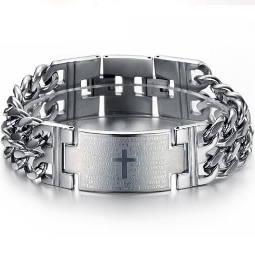 Classic Men Bracelet High Quality Titanium Steel Bracelet Gold Silver Black Spanish Bible Lord's Prayer Cross Bracelet
