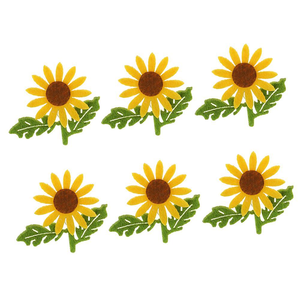 6 설정 / 패브릭 녹색 잎 봉제 공예 액세서리 노란색 해바라기 펠트