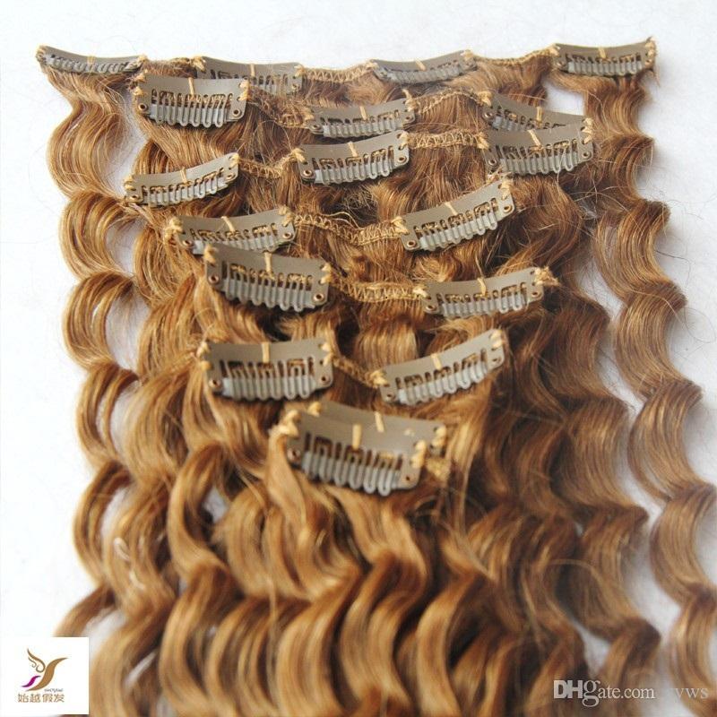 Clip di luce Biondi mongola tessuto profondo 10-30 Inchs Remy Nel 100% dei capelli umani estensioni 7Pcs / Set clip nelle estensioni dei capelli