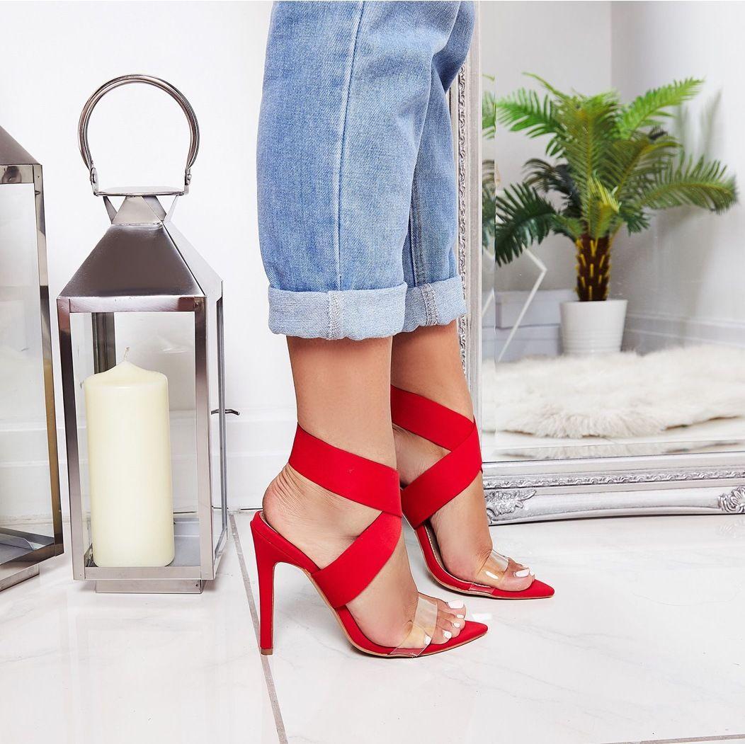 dames de mode bout pointu sandales d'été élastique sexy bout ouvert 11.5cm transparent mince talons dame chaussures de banquet noir abricot rouge