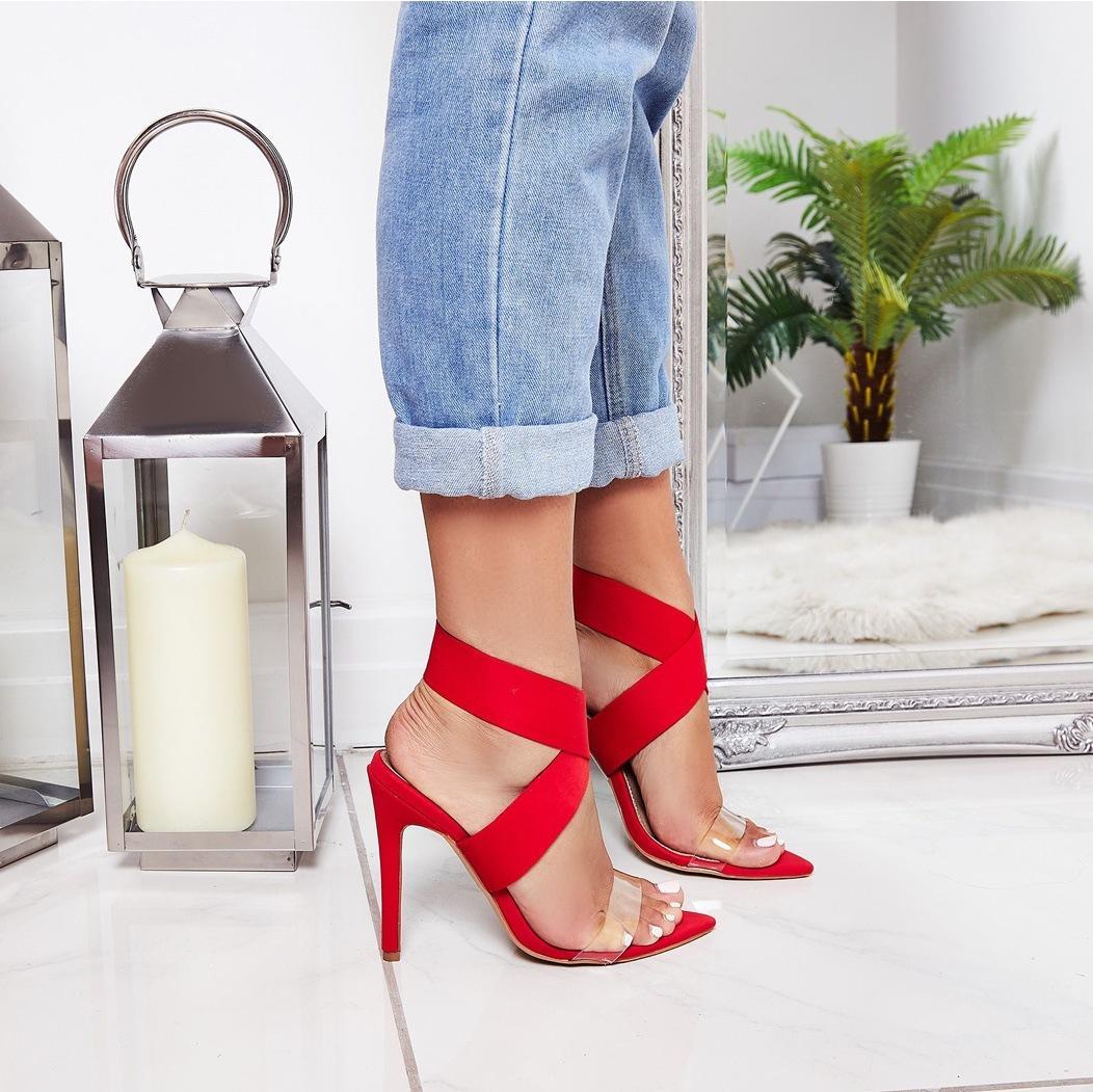 señoras de la manera del dedo del pie en punta de la banda elástica sandalias atractivos del verano del dedo del pie abierto 11.5cm transparente talones de señora delgada sala de zapatos negro rojo albaricoque